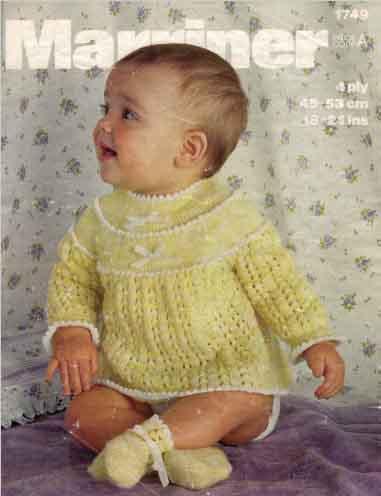 Marriner 1749 - Baby's Angel Top & Bootees