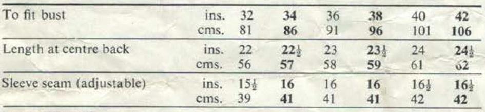 Patons 6206 Measurements