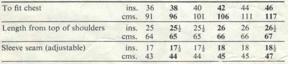 Patons 6206 for men Measurements