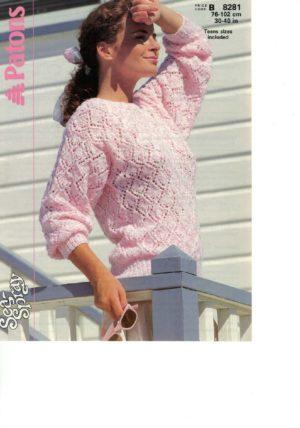 Patons 8281 - Lace pattern sweater