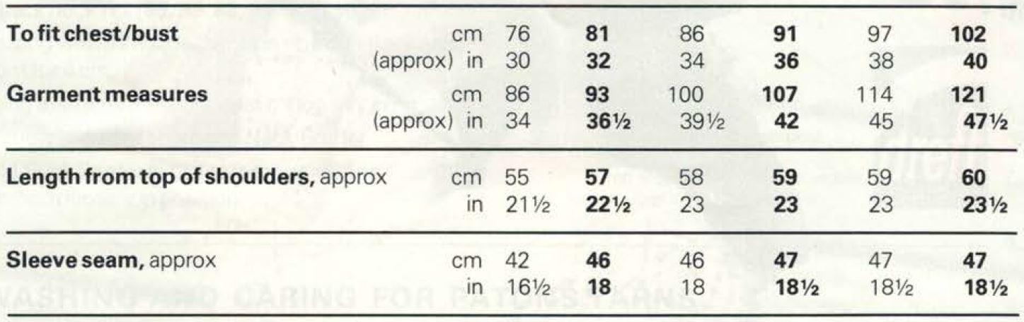 Patons 8281 - Lace pattern sweater measurements