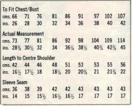 Studley 1287 - Lady & Girls Jumper measurements
