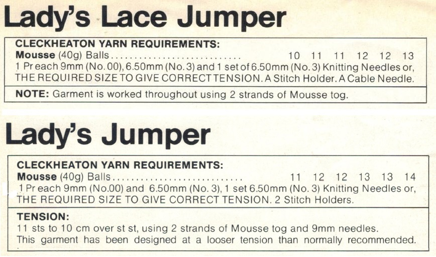 Cleckheaton 0086 - Lady's Jumper materials