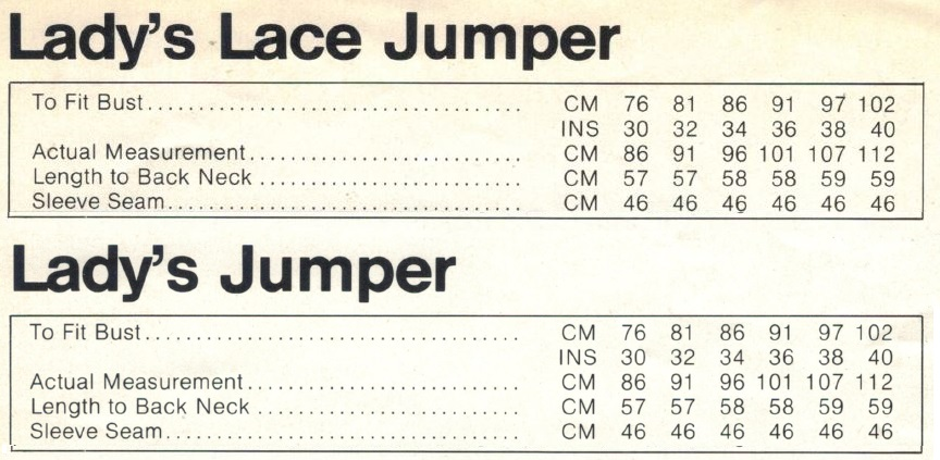 Cleckheaton 0086 - Lady's Jumper measurements