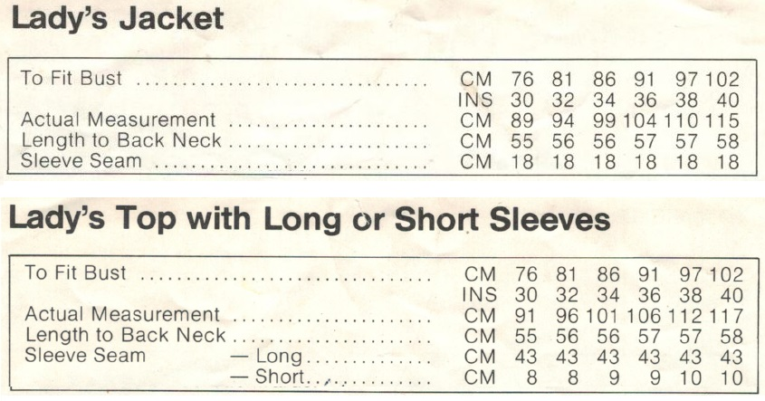 Cleckheaton 0093 - Ladies Jacket and Top measurements