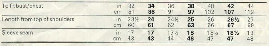 jaeger 4584 - Lady or Man's Jumper measurements