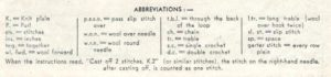 Patons 265 - Lady's Jumper Bernice - abbreviations