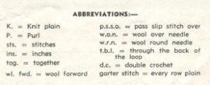 Patons 274 - Lady's Jumper - Abbreviations