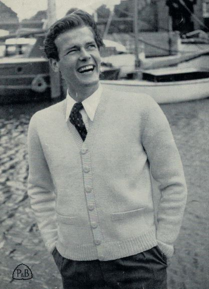 Patons 554 - Ernest - Mans Cardigan modelled by Roger Moore