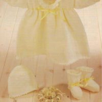 Robin 14996 - Baby's Dress, Bonnet & Bootees