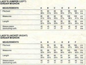 Sirdar 7343 - Lady's Jumper & Jacket - Measurements