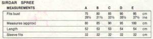Sirdar 7370 - Lady's Jumper - Measurements