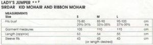 Sirdar 7554 - Lady's Jumper - Measurements