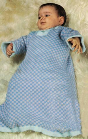 Baby's Sleeping Bag or Dressing Gown, Bonnet and Jumper - Conifer Baby Sleeping Bag