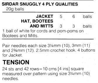 Sirdar108-22 23 Matinee Set materials