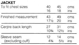 Sirdar108-22 23 Matinee Set measurements